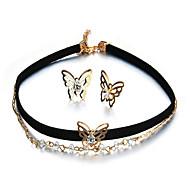 저렴한 -여성용 스터드 귀걸이 팬던트 목걸이 합성 다이아몬드 패션 파티 일상 합금 Bowknot Shape