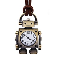 abordables Relojes Mecánicos-Hombre Mujer Reloj de Bolsillo Chino Cuerda Manual Reloj Casual Piel Banda Vintage Creativo Marrón
