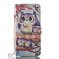 voordelige Galaxy S5 Hoesjes / covers-hoesje Voor Samsung Galaxy S8 Plus S8 Portemonnee Kaarthouder met standaard Flip Patroon Magnetisch Volledige behuizing Uil Hard TPU voor