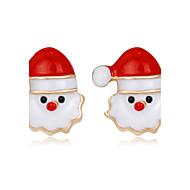 Dames Kinderen Oorknopjes Modieus Chrismas Strass Legering Sieraden Voor Kerstmis Nieuwjaar