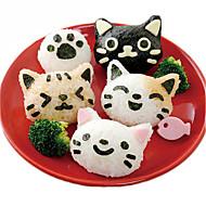 voordelige Keuken Gerei-3pcs schattige kat sushi nori rijstgarnituur decor cutter bento maker sandwich diy gereedschap