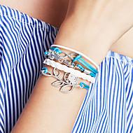 billige -Dame Vedhend Armband Lær Armbånd Sjal Armbånd Personalisert Grunnleggende Venskap Multi Layer Håndlaget Mote Lær Legering Fugl Blad