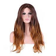 Vrouw Lang Natuurlijk golvend Donkerbruin / Medium Auburn Ombre-haar Natuurlijke haarlijn Gelaagd kapsel Cosplaypruik Natuurlijke pruik