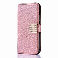 Недорогие Кейсы для iPhone 8-Кейс для Назначение Apple iPhone X iPhone 8 Бумажник для карт Кошелек Стразы со стендом Флип Магнитный Чехол Сплошной цвет Твердый Кожа PU