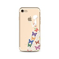 Недорогие Кейсы для iPhone 8-Назначение iPhone X iPhone 8 Чехлы панели Прозрачный С узором Задняя крышка Кейс для Бабочка Соблазнительная девушка Мягкий Термопластик