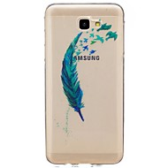 Funda Para Samsung Galaxy J7 (2017) J3 (2017) Diamantes Sintéticos Ultrafina Transparente Diseños Cubierta Trasera Plumas Suave TPU para