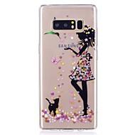 Недорогие Чехлы и кейсы для Galaxy Note 2-Кейс для Назначение SSamsung Galaxy Ультратонкий Прозрачный С узором Кейс на заднюю панель Бабочка Соблазнительная девушка Мягкий ТПУ для