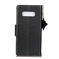 Недорогие Чехлы и кейсы для Galaxy Note 8-Кейс для Назначение SSamsung Galaxy Бумажник для карт Кошелек Флип Чехол Сплошной цвет Твердый Настоящая кожа для Note 8