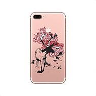 Кейс для Назначение Apple iPhone X iPhone 8 iPhone 8 Plus Прозрачный С узором Задняя крышка Животное Рождество Мягкий TPU для iPhone X