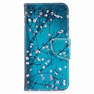 お買い得  携帯電話ケース-ケース 用途 V30 Q6 カードホルダー ウォレット スタンド付き フリップ 磁石バックル パターン フルボディーケース フラワー ハード PUレザー のために LG V30 LG Q6