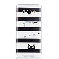 Недорогие Чехлы и кейсы для Galaxy J3-Кейс для Назначение SSamsung Galaxy J7 (2017) J3 (2017) Прозрачный С узором Кейс на заднюю панель Полосы / волосы Кот Мягкий ТПУ для J7