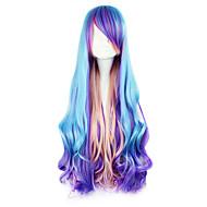 Pelucas Lolita Punk Azul Piscina Gradiente de Color Peluca de Lolita  80 CM Pelucas de Cosplay Retazos Pelucas Para