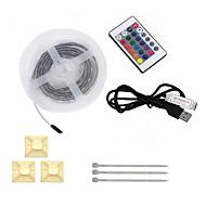 お買い得  -HKV フレキシブルLEDライトストリップ 60 LED RGB リモートコントロール カット可能 防水 DC4.5V DC4.5