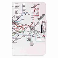 cartera del sostenedor de la tarjeta del patrón del mapa con la caja de cuero magnética de la PU del tirón del soporte para la lengüeta de