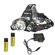 cheap Flashlights, Lanterns & Lights-RJ-3000 Headlamps Chargers Headlight LED 4000 lm 4 Mode Cree XM-L T6 Rechargeable Strike Bezel for Camping/Hiking/Caving Traveling Black