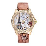 Dames Dress horloge Polshorloge Gesimuleerd Diamant Horloge Chinees Kwarts imitatie Diamond PU Band Luxe Bloem Vintage Informeel Bohémien