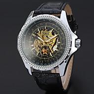 お買い得  -WINNER 男性用 リストウォッチ 機械式時計 自動巻き 30 m 透かし加工 クール レザー バンド ハンズ カジュアル ブラック - ホワイト ブラック