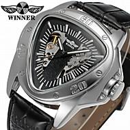 お買い得  -WINNER 男性用 機械式時計 自動巻き 30 m 透かし加工 クール レザー バンド ハンズ カジュアル ブラック - ホワイト ブラック / ステンレス