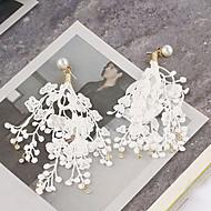 Недорогие Украшения в цветочном стиле-Жен. С кисточками / Длиные Серьги-слезки - кисточка, корейский, Мода Белый / Черный Назначение Для вечеринок / Повседневные