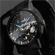 olcso -WINNER Férfi Karóra mechanikus Watch Automatikus önfelhúzós Rozsdamentes acél Fekete 30 m Üreges gravírozás Analóg Luxus Klasszikus Alkalmi - Fekete Kék / fekete Ezüst / Piros