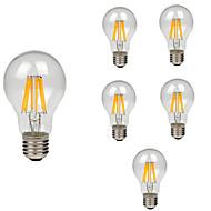 6kpl a60 (a19) 8w 760lm retro led filamentti lamppu e27 kirkas lasi kuori vintage edison lämmin / viileä valkoinen ac220-240v