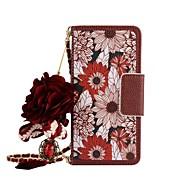 Недорогие Чехлы и кейсы для Galaxy Note 8-Кейс для Назначение SSamsung Galaxy Note 8 Note 5 Бумажник для карт Кошелек со стендом Флип Магнитный С узором Своими руками Чехол Цветы