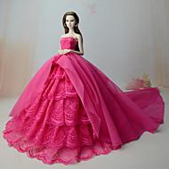abordables Muñecas y Peluches-Vestidos Vestir por Muñeca Barbie  Rosa Rojo Tela de Encaje Organdí Vestido por Chica de muñeca de juguete