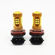 2本の金色の黄色のh8 / h11の56wは車の霧の光smd 3030 28を導いた霧ランプを導いた昼間のランニングライトdrl dc12v