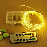 tanie Taśmy świetlne LED-10 m 33ft drut miedziano-srebrny led string light fairy girlanda lampa dekoracyjna z 8 trybów pilotem zasilany bateryjnie