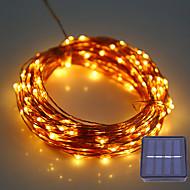1set hkv® 12m 100led dc 5v szoláris rézhuzal vezetett string fény kültéri vízálló tündér lámpa esküvőre karácsonyi dekoráció
