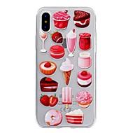 Кейс для Назначение Apple iPhone X iPhone 8 Прозрачный Рельефный С узором Задняя крышка Продукты питания Мягкий TPU для iPhone X iPhone 8