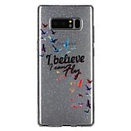 Недорогие Чехлы и кейсы для Galaxy Note 8-Кейс для Назначение SSamsung Galaxy Note 8 Полупрозрачный С узором Рельефный лакировка Кейс на заднюю панель Слова / выражения Сияние и