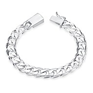 cheap -Men's Chain Bracelet Silver Plated Heart Simple Fashion Bracelet Jewelry Silver For Birthday Gift