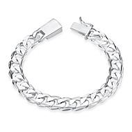 billige -Herre Kæde & Lænkearmbånd Sølvbelagt Hjerte Simple Mode Armbånd Smykker Sølv Til Fødselsdag Gave