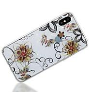 Кейс для Назначение Apple iPhone X iPhone 8 IMD С узором Задняя крышка Бабочка Сияние и блеск Цветы Мягкий TPU для iPhone X iPhone 8