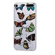 お買い得  iPod 用ケース/カバー-ケースアップルipod touch5 / 6ケースカバー高い浸透性の粉末imd黒い花の蝶柔らかいtpuの電話ケース