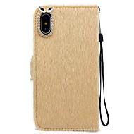 Недорогие Кейсы для iPhone 8 Plus-Кейс для Назначение Apple iPhone X iPhone 8 Бумажник для карт Кошелек Стразы со стендом Чехол Сплошной цвет Твердый текстильный для