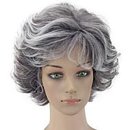 お買い得  -人工毛ウィッグ カール レイヤード・ヘアカット 合成 グレイ かつら 女性用 ショート キャップレス グレイ hairjoy