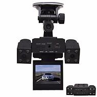 voordelige Auto DVR's-h3000 auto dvr met 8 led ir nachtzicht dubbele camera's 2.0 inch tft lcd roterende scherm en roterende lens auto zwarte doos autorecorder