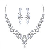cheap -Women's Jewelry Set Imitation Pearl, Zircon, Silver Plated Leaf, Flower Ladies, Elegant Include Silver For Wedding Evening Party Masquerade Engagement Party Prom Promise / Earrings