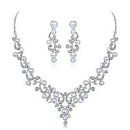preiswerte -Damen Schmuckset Imitierte Perlen Strass Zum Kleid Elegant Hochzeit Party Künstliche Perle Zirkon versilbert Blattform Blume 1 Halskette