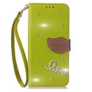 Недорогие Чехлы и кейсы для Galaxy Note 2-Кейс для Назначение SSamsung Galaxy Note 8 Бумажник для карт Кошелек Стразы со стендом Флип Чехол Сплошной цвет Твердый Кожа PU для Note