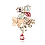 billige -Dame Opal Kvadratisk Zirconium Brocher Opal Simuleret diamant Sommerfugl Klassisk Mode Broche Smykker Guld Til Daglig