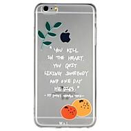Недорогие Кейсы для iPhone 8-Кейс для Назначение Apple iPhone 6 iPhone 7 Полупрозрачный С узором Рельефный Кейс на заднюю панель Слова / выражения Фрукты