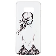 Недорогие Чехлы и кейсы для Galaxy S7 Edge-Кейс для Назначение SSamsung Galaxy S8 S7 Стразы С узором Рельефный Кейс на заднюю панель Соблазнительная девушка Цветы Мультипликация