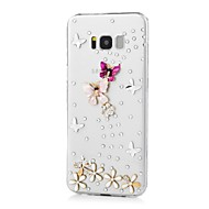Недорогие Чехлы и кейсы для Galaxy S7-Кейс для Назначение SSamsung Galaxy S8 Plus S8 Стразы С узором Кейс на заднюю панель Бабочка Твердый Акрил для S8 Plus S8 S7 edge S7