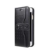 Недорогие Чехлы и кейсы для Galaxy S7-Кейс для Назначение SSamsung Galaxy S7 edge S7 Бумажник для карт со стендом Флип Чехол Сплошной цвет Твердый Кожа PU для S7 edge S7