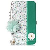 Недорогие Кейсы для iPhone 8 Plus-Кейс для Назначение Apple iPhone X iPhone 8 Бумажник для карт со стендом Флип С узором Своими руками Чехол Цветы Твердый Искусственная