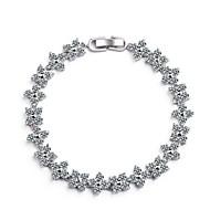 お買い得  -女性用 合成ダイヤモンド チェーン&リンクブレスレット  -  ジルコン ベーシック ブレスレット シルバー 用途 パーティー カーニバル