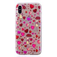 Недорогие Кейсы для iPhone 8-Кейс для Назначение Apple iPhone X iPhone 8 Полупрозрачный С узором Кейс на заднюю панель С сердцем Мягкий ТПУ для iPhone X iPhone 8
